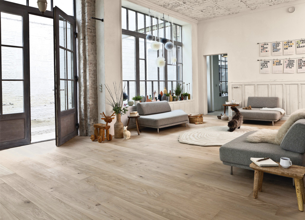 Le parquet effet bois naturel la d co scandinave en force for Style de salon sejour